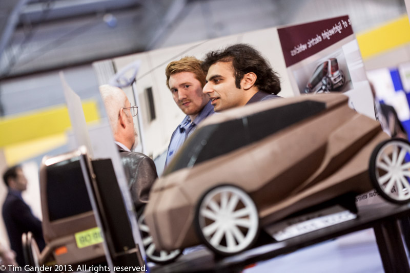March: At the Renewable Energy Market Place event in Exeter, two designers explain their concept vehicle to a visitor