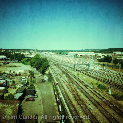 Railway lines out of Exeter, filtered to look hip