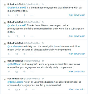 Screen grab of DPC's twitter feed showing photographers' complaints about $1 photos
