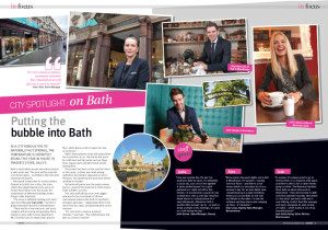 Double page spread of photos by Tim Gander in House of Fraser Host magazine