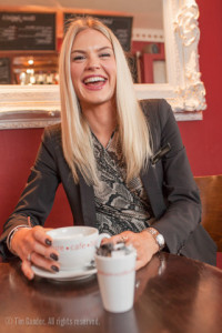 Jody Brown, Sales Manager, Jollys of Bath, enjoys a coffee at Adventure Cafe