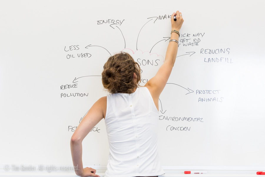 A young woman in a white sleeveless top reaches up to write on a whiteboard, her back to the camera. The subject is the environment.