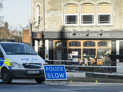 Police cordon off an area outside The Cornerhouse pub in Frome, Somerset, after a fight.