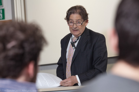 Nigel Lawson talking to an audience at University of Bath